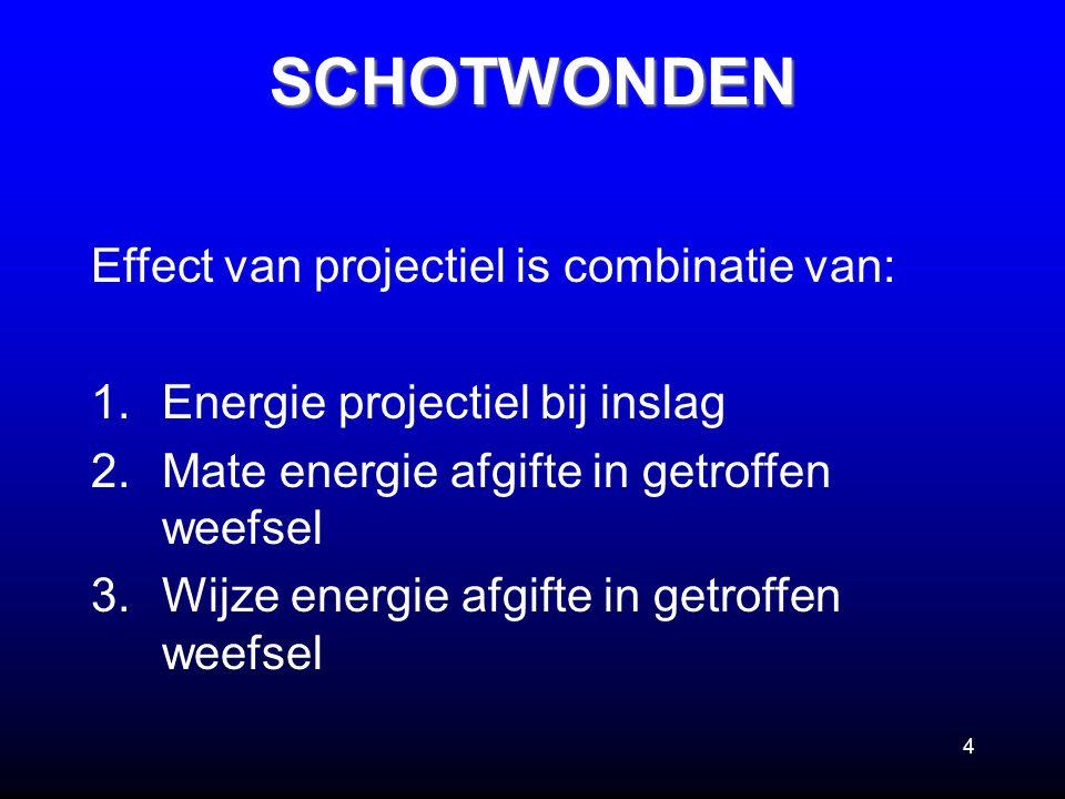 4 Effect van projectiel is combinatie van: 1.Energie projectiel bij inslag 2.Mate energie afgifte in getroffen weefsel 3.Wijze energie afgifte in getr