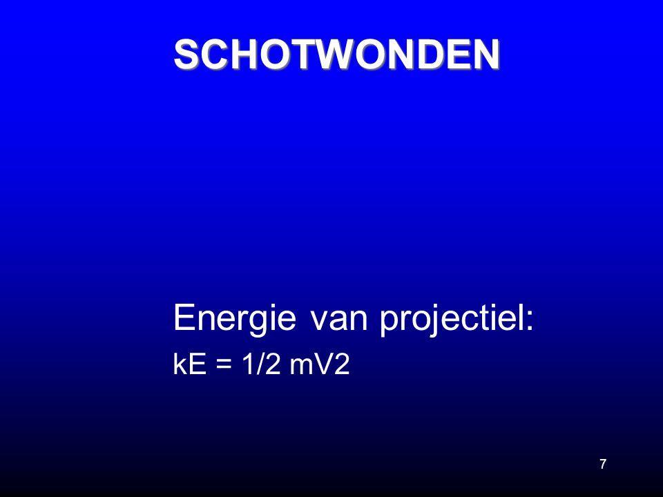 7 Energie van projectiel: kE = 1/2 mV2SCHOTWONDEN
