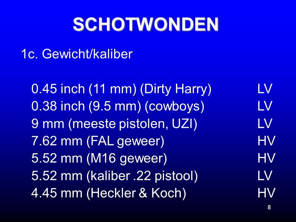 8 1c. Gewicht/kaliber 0.45 inch (11 mm) (Dirty Harry)LV 0.38 inch (9.5 mm) (cowboys)LV 9 mm (meeste pistolen, UZI)LV 7.62 mm (FAL geweer)HV 5.52 mm (M