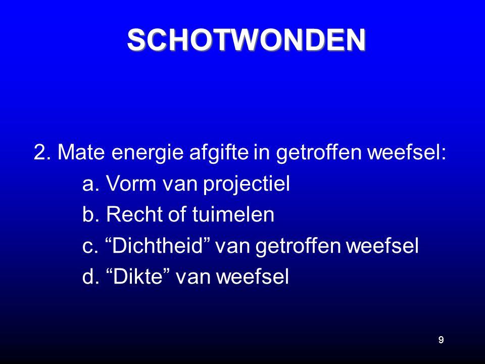 """9 2. Mate energie afgifte in getroffen weefsel: a. Vorm van projectiel b. Recht of tuimelen c. """"Dichtheid"""" van getroffen weefsel d. """"Dikte"""" van weefse"""