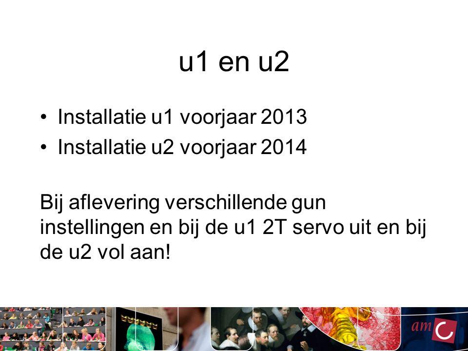 u1 en u2 Installatie u1 voorjaar 2013 Installatie u2 voorjaar 2014 Bij aflevering verschillende gun instellingen en bij de u1 2T servo uit en bij de u2 vol aan!