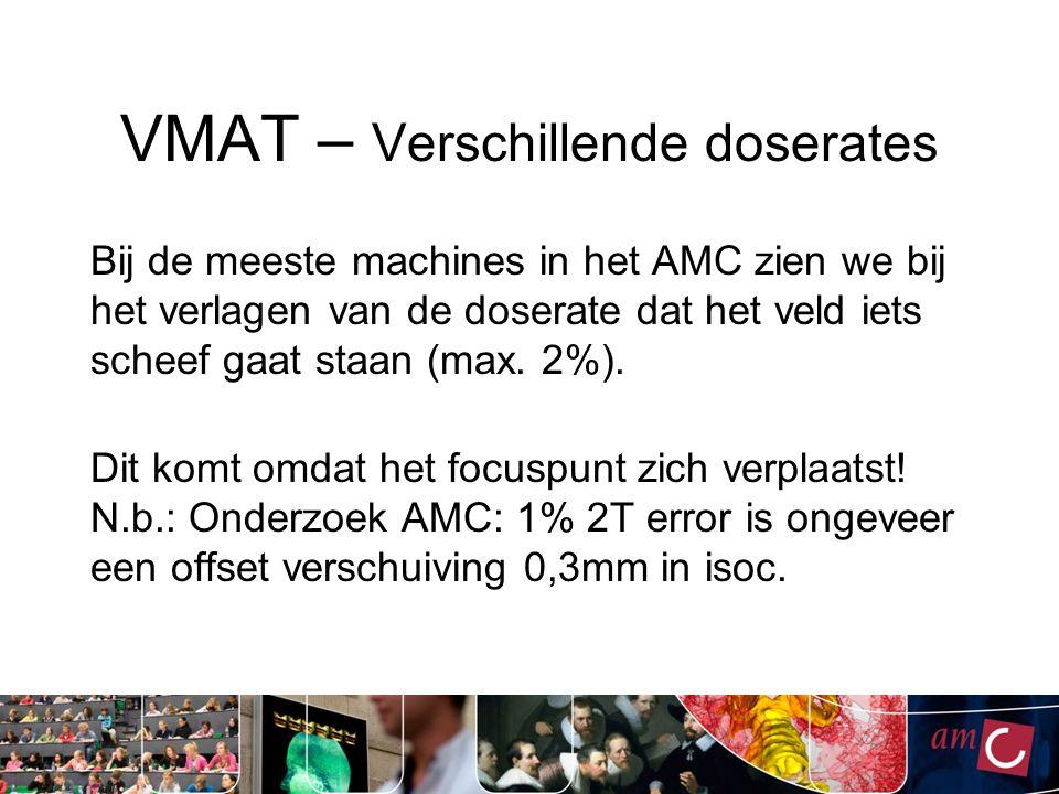 VMAT – Verschillende doserates Bij de meeste machines in het AMC zien we bij het verlagen van de doserate dat het veld iets scheef gaat staan (max.
