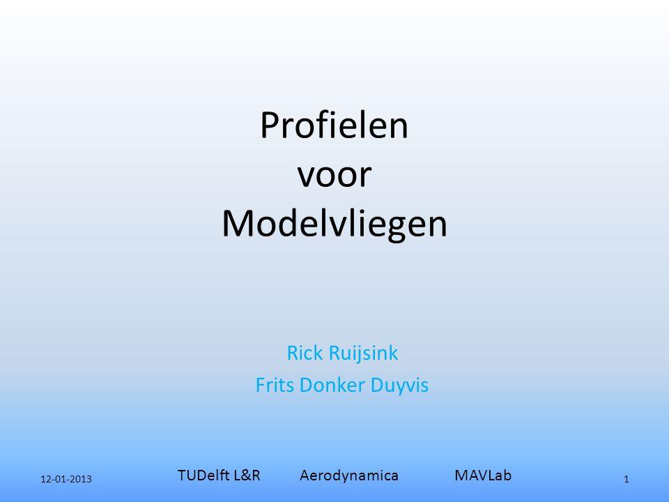 Profielen voor Modelvliegen Rick Ruijsink Frits Donker Duyvis 12-01-2013 TUDelft L&R Aerodynamica MAVLab 1