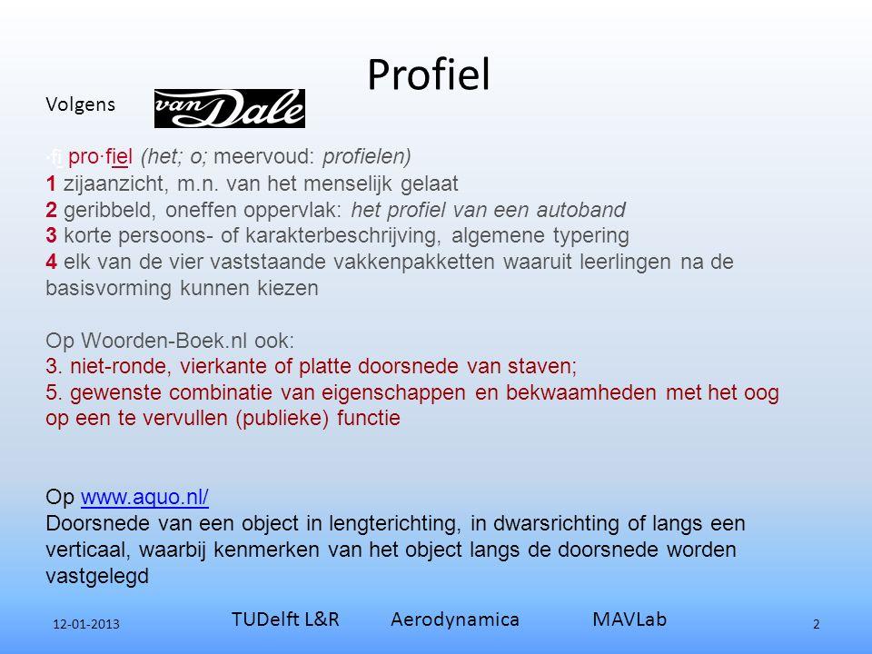 Profiel 12-01-2013 TUDelft L&R Aerodynamica MAVLab 2 Volgens ·fi pro·fiel (het; o; meervoud: profielen) 1 zijaanzicht, m.n.