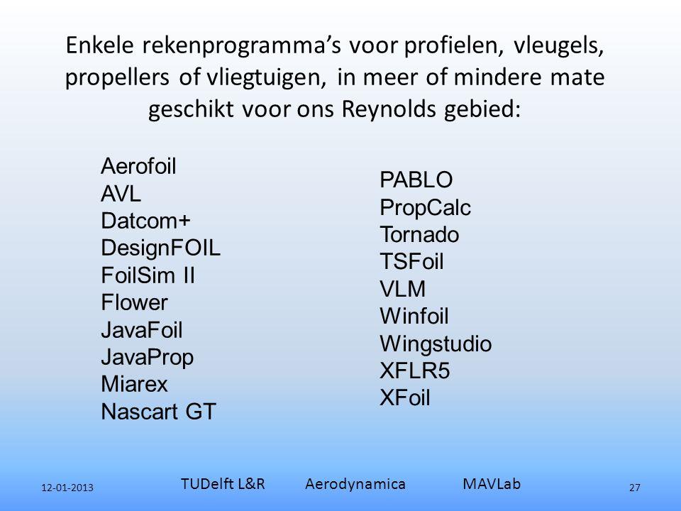 Enkele rekenprogramma's voor profielen, vleugels, propellers of vliegtuigen, in meer of mindere mate geschikt voor ons Reynolds gebied: 12-01-2013 TUDelft L&R Aerodynamica MAVLab 27 Aerofoil AVL Datcom+ DesignFOIL FoilSim II Flower JavaFoil JavaProp Miarex Nascart GT PABLO PropCalc Tornado TSFoil VLM Winfoil Wingstudio XFLR5 XFoil