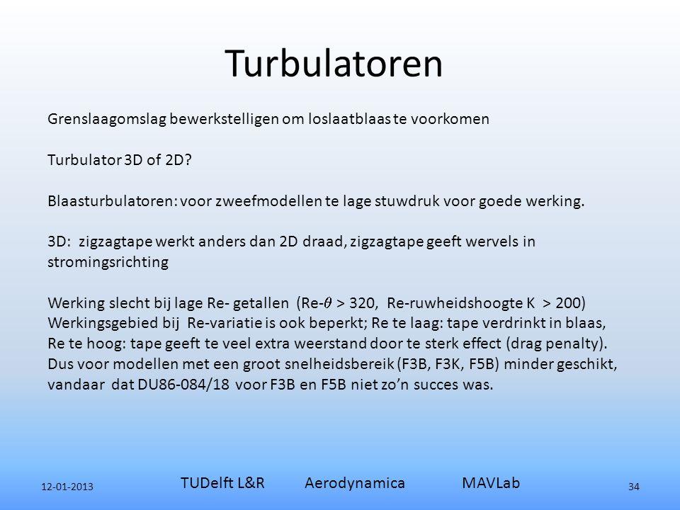 12-01-2013 TUDelft L&R Aerodynamica MAVLab 34 Grenslaagomslag bewerkstelligen om loslaatblaas te voorkomen Turbulator 3D of 2D.
