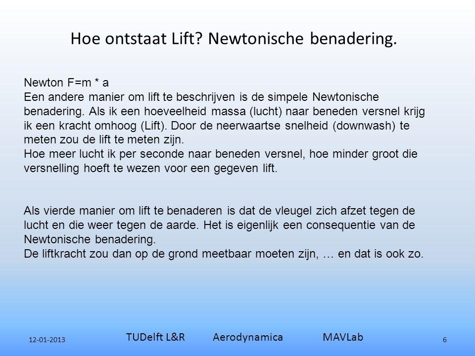 12-01-2013 TUDelft L&R Aerodynamica MAVLab 6 Newton F=m * a Een andere manier om lift te beschrijven is de simpele Newtonische benadering.