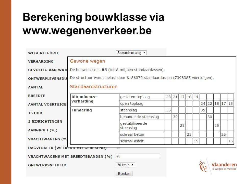 Berekening bouwklasse via www.wegenenverkeer.be