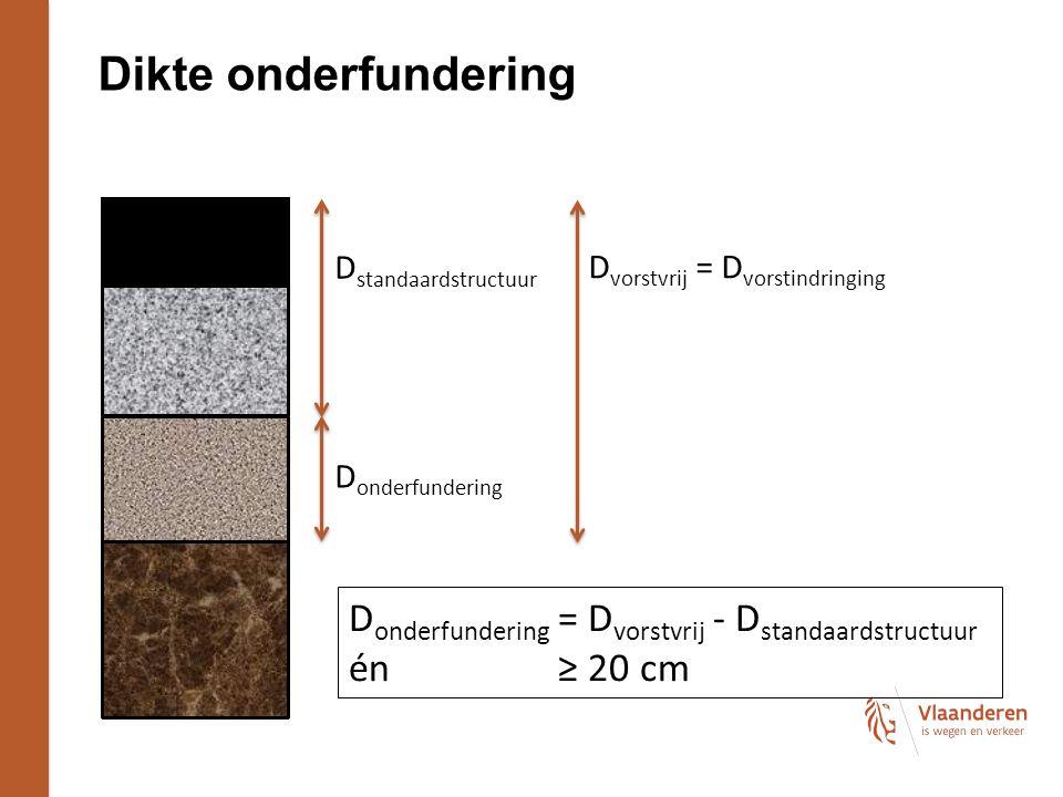 Dikte onderfundering D vorstvrij = D vorstindringing D onderfundering D standaardstructuur D onderfundering = D vorstvrij - D standaardstructuur én≥ 20 cm