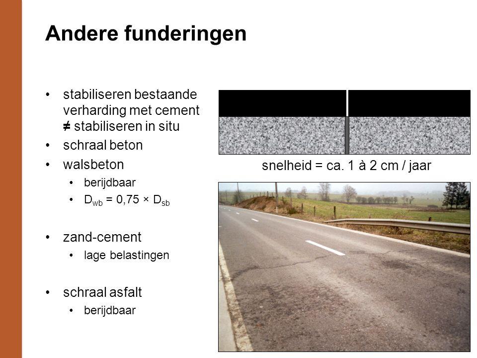 Andere funderingen stabiliseren bestaande verharding met cement ≠ stabiliseren in situ schraal beton walsbeton berijdbaar D wb = 0,75 × D sb zand-cement lage belastingen schraal asfalt berijdbaar snelheid = ca.