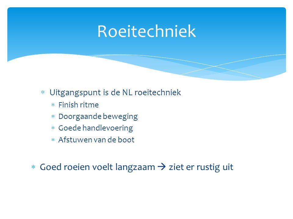  Uitgangspunt is de NL roeitechniek  Finish ritme  Doorgaande beweging  Goede handlevoering  Afstuwen van de boot  Goed roeien voelt langzaam  ziet er rustig uit Roeitechniek