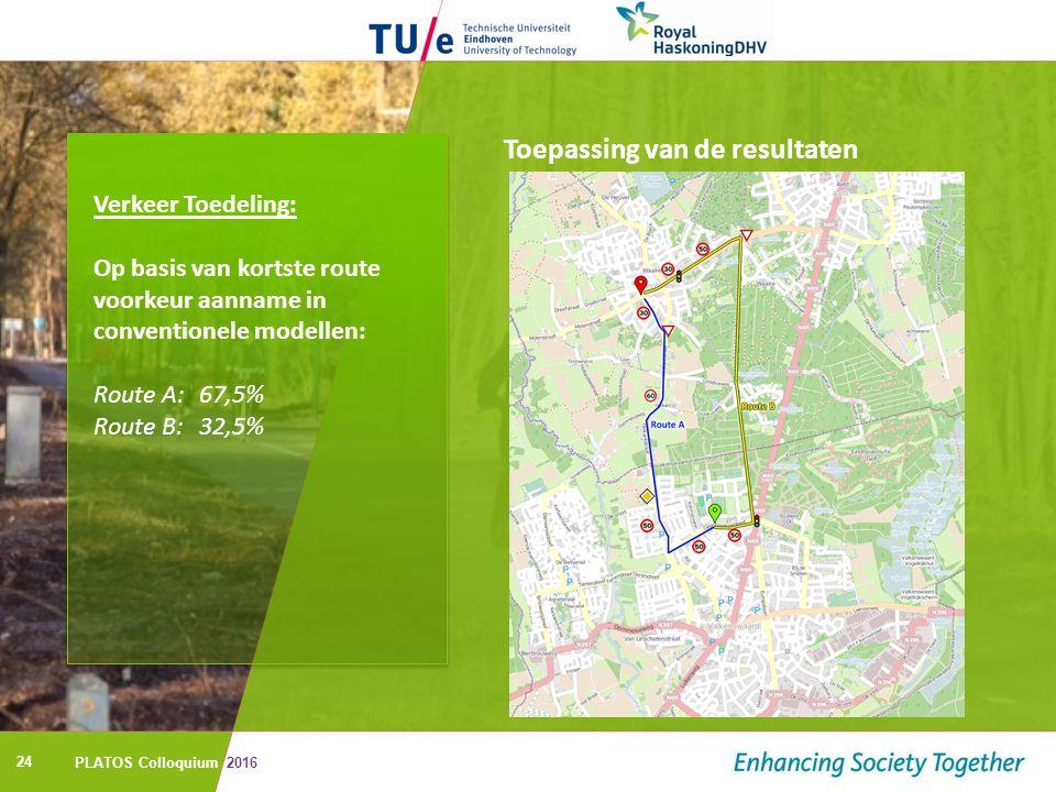 24 Toepassing van de resultaten Verkeer Toedeling: Op basis van kortste route voorkeur aanname in conventionele modellen: Route A: 67,5% Route B: 32,5% PLATOS Colloquium 2016