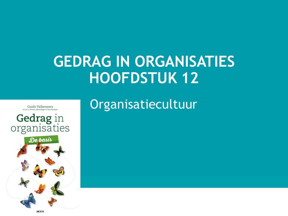 Organisatiecultuur GEDRAG IN ORGANISATIES HOOFDSTUK 12 1