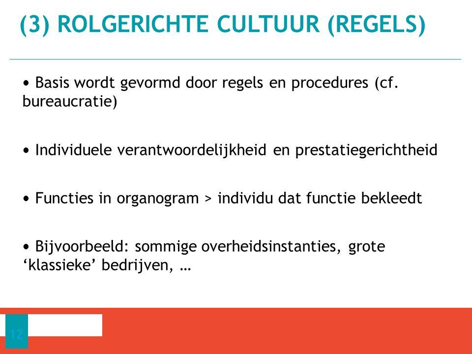 Basis wordt gevormd door regels en procedures (cf. bureaucratie) Individuele verantwoordelijkheid en prestatiegerichtheid Functies in organogram > ind