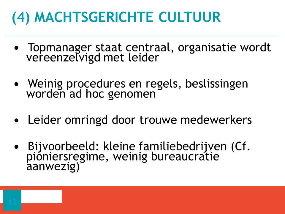 Topmanager staat centraal, organisatie wordt vereenzelvigd met leider Weinig procedures en regels, beslissingen worden ad hoc genomen Leider omringd d