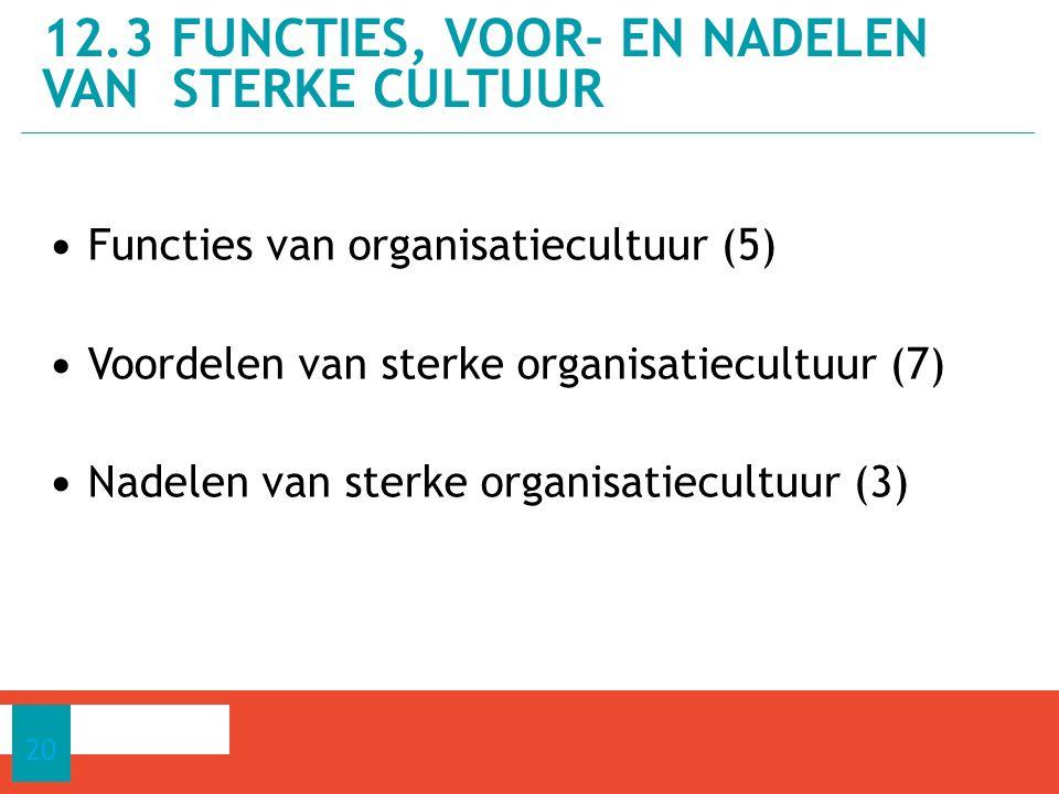 Functies van organisatiecultuur (5) Voordelen van sterke organisatiecultuur (7) Nadelen van sterke organisatiecultuur (3) 12.3 FUNCTIES, VOOR- EN NADELEN VAN STERKE CULTUUR 20