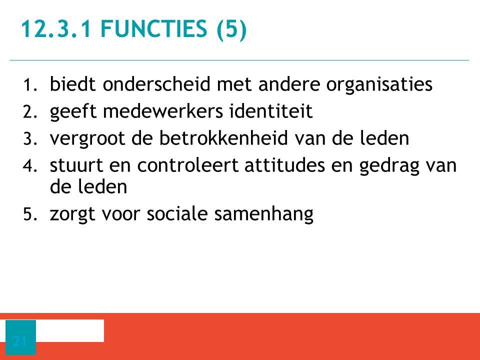1. biedt onderscheid met andere organisaties 2. geeft medewerkers identiteit 3. vergroot de betrokkenheid van de leden 4. stuurt en controleert attitu