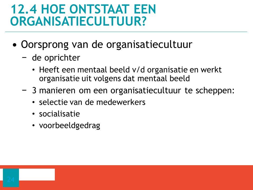 Oorsprong van de organisatiecultuur − de oprichter Heeft een mentaal beeld v/d organisatie en werkt organisatie uit volgens dat mentaal beeld − 3 manieren om een organisatiecultuur te scheppen: selectie van de medewerkers socialisatie voorbeeldgedrag 12.4 HOE ONTSTAAT EEN ORGANISATIECULTUUR.