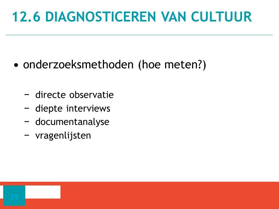 onderzoeksmethoden (hoe meten?) − directe observatie − diepte interviews − documentanalyse − vragenlijsten 12.6 DIAGNOSTICEREN VAN CULTUUR 29
