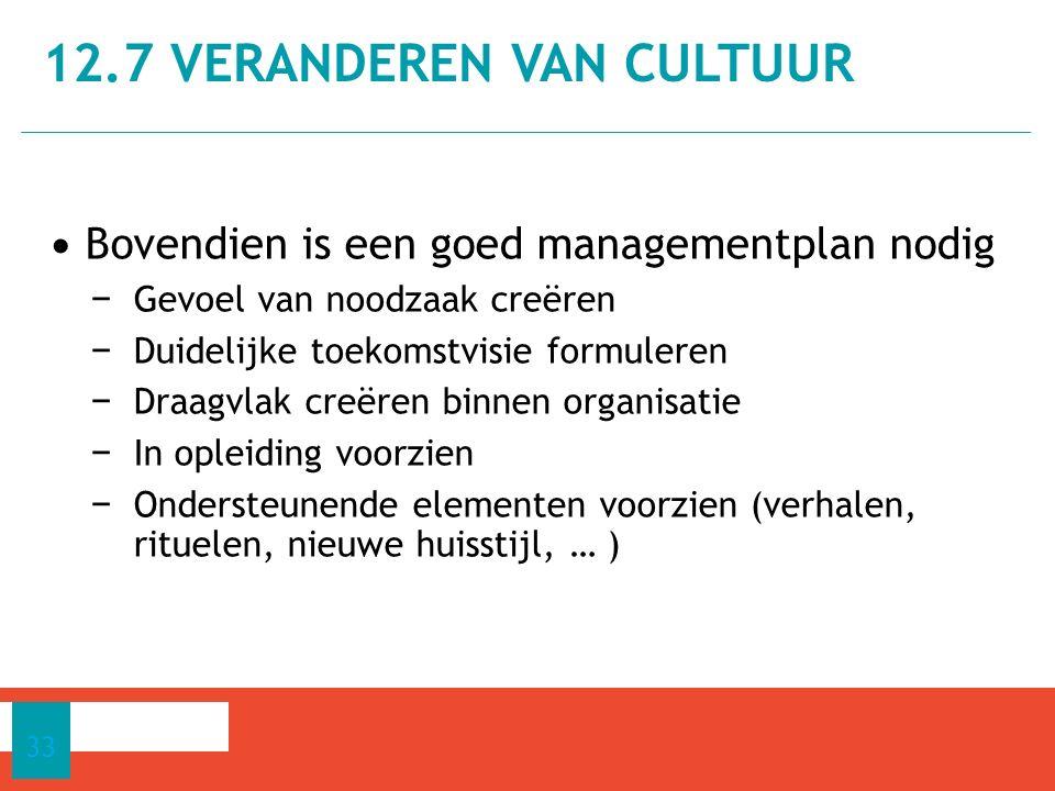 Bovendien is een goed managementplan nodig − Gevoel van noodzaak creëren − Duidelijke toekomstvisie formuleren − Draagvlak creëren binnen organisatie