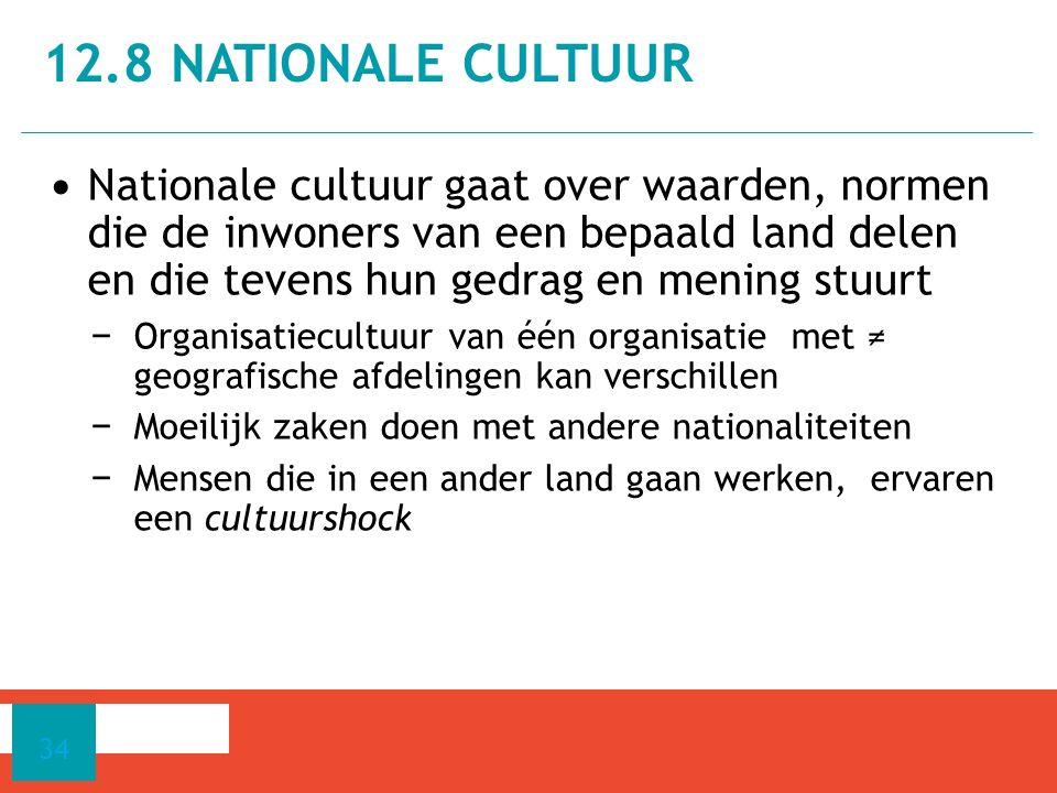 Nationale cultuur gaat over waarden, normen die de inwoners van een bepaald land delen en die tevens hun gedrag en mening stuurt − Organisatiecultuur