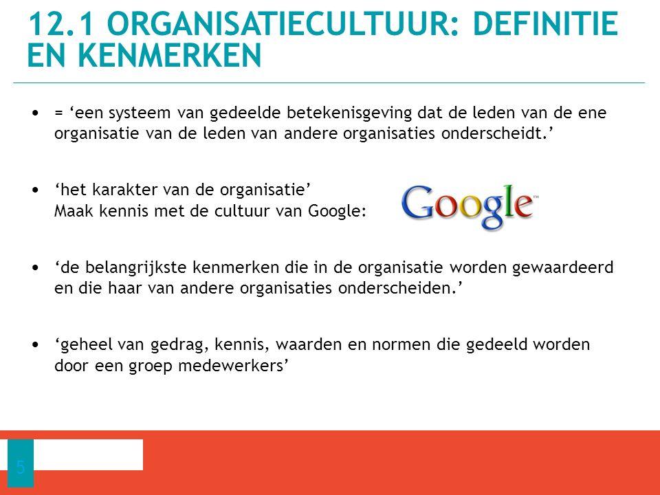 = 'een systeem van gedeelde betekenisgeving dat de leden van de ene organisatie van de leden van andere organisaties onderscheidt.' 'het karakter van