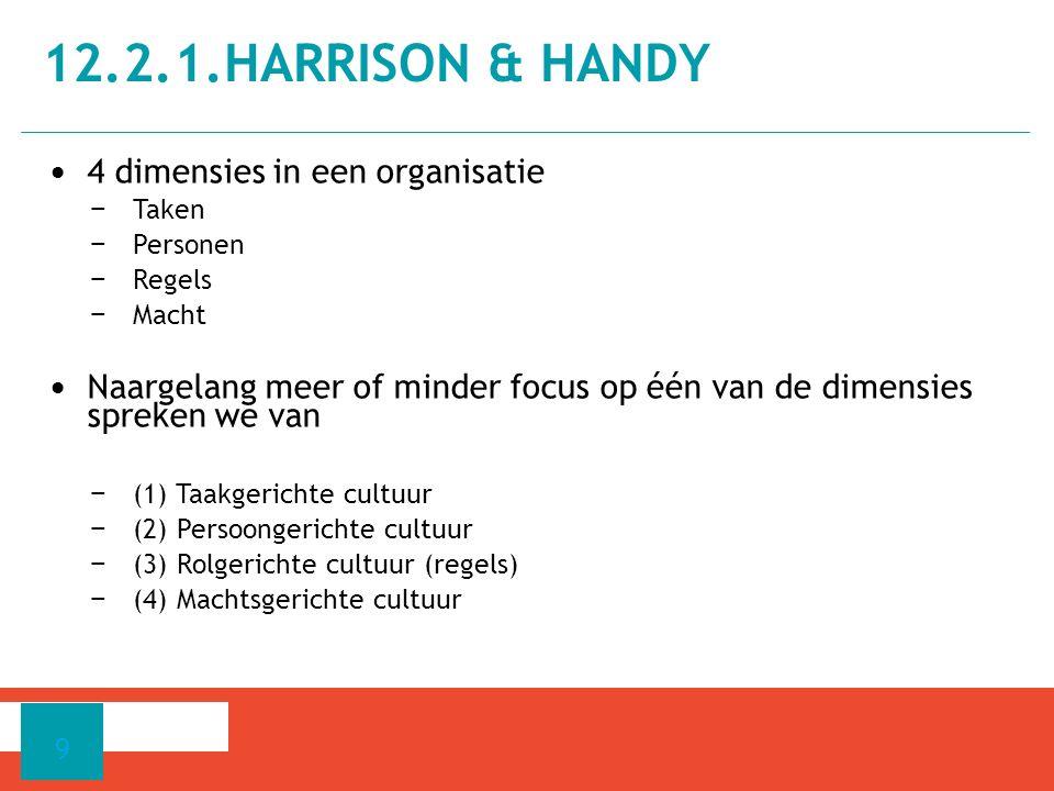 4 dimensies in een organisatie − Taken − Personen − Regels − Macht Naargelang meer of minder focus op één van de dimensies spreken we van − (1) Taakgerichte cultuur − (2) Persoongerichte cultuur − (3) Rolgerichte cultuur (regels) − (4) Machtsgerichte cultuur 12.2.1.HARRISON & HANDY 9