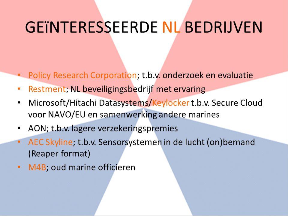 GEïNTERESSEERDE NL BEDRIJVEN Policy Research Corporation; t.b.v.