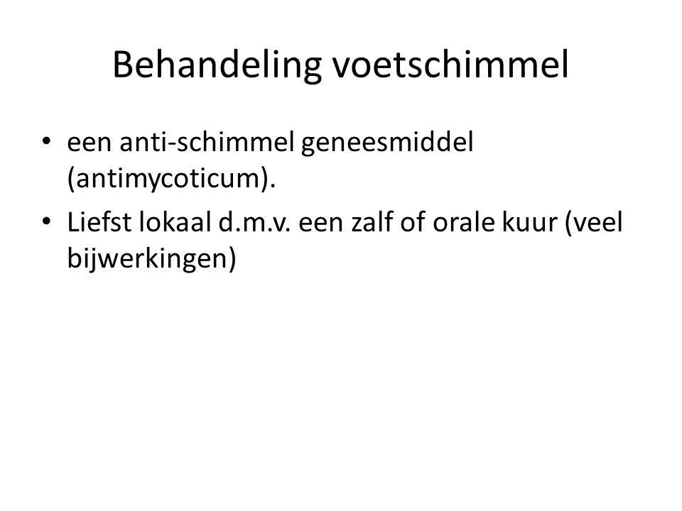 Behandeling voetschimmel een anti-schimmel geneesmiddel (antimycoticum).