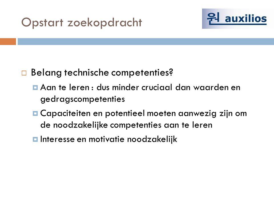 Opstart zoekopdracht  Belang technische competenties.