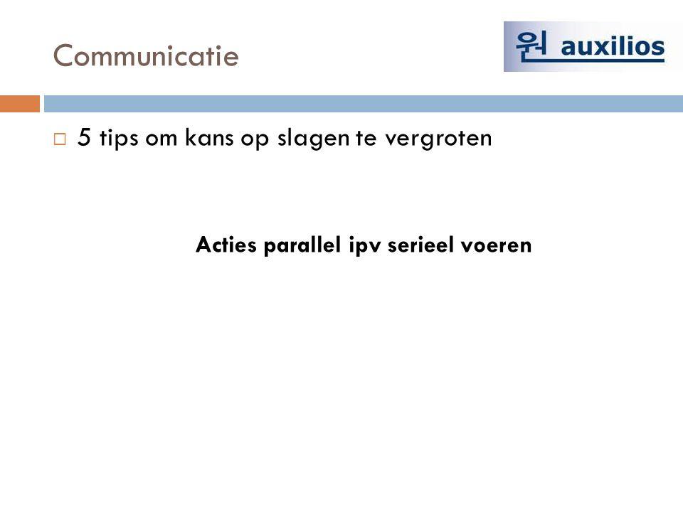 Communicatie  5 tips om kans op slagen te vergroten Acties parallel ipv serieel voeren