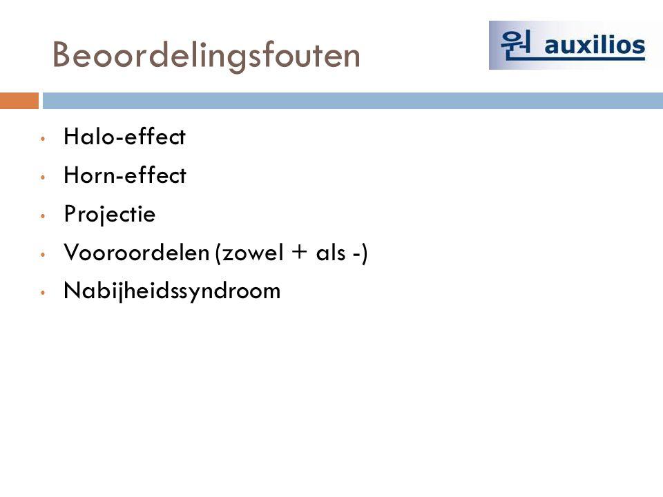 Beoordelingsfouten Halo-effect Horn-effect Projectie Vooroordelen (zowel + als -) Nabijheidssyndroom