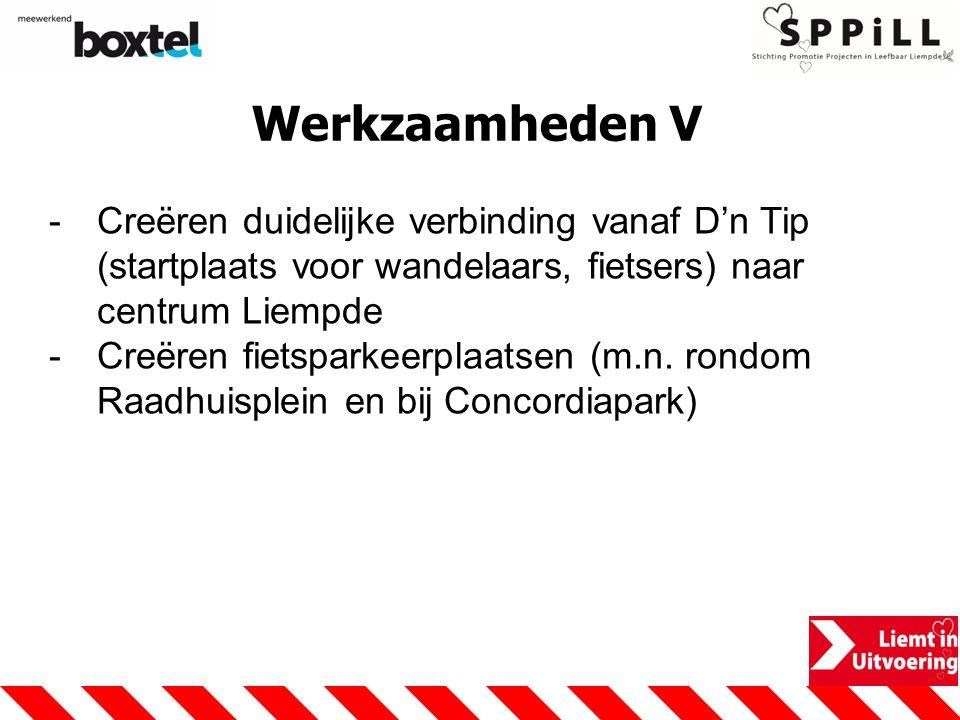 Werkzaamheden V -Creëren duidelijke verbinding vanaf D'n Tip (startplaats voor wandelaars, fietsers) naar centrum Liempde -Creëren fietsparkeerplaatsen (m.n.