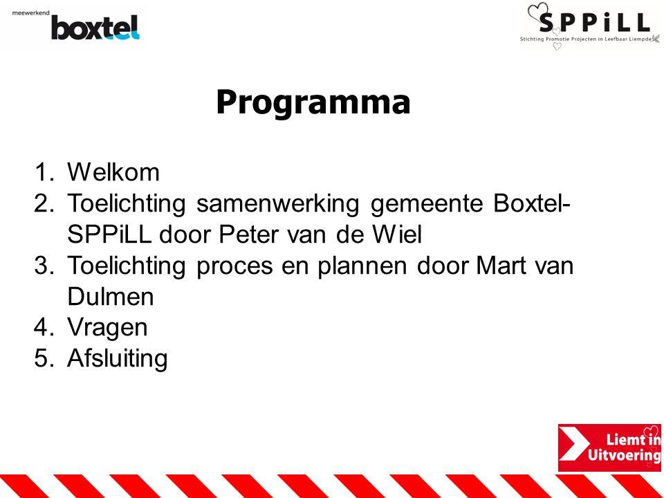 Programma 1.Welkom 2.Toelichting samenwerking gemeente Boxtel- SPPiLL door Peter van de Wiel 3.Toelichting proces en plannen door Mart van Dulmen 4.Vr