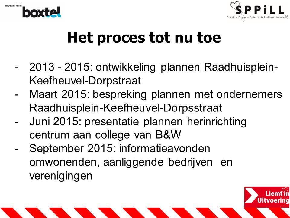 Het proces tot nu toe -2013 - 2015: ontwikkeling plannen Raadhuisplein- Keefheuvel-Dorpstraat -Maart 2015: bespreking plannen met ondernemers Raadhuis