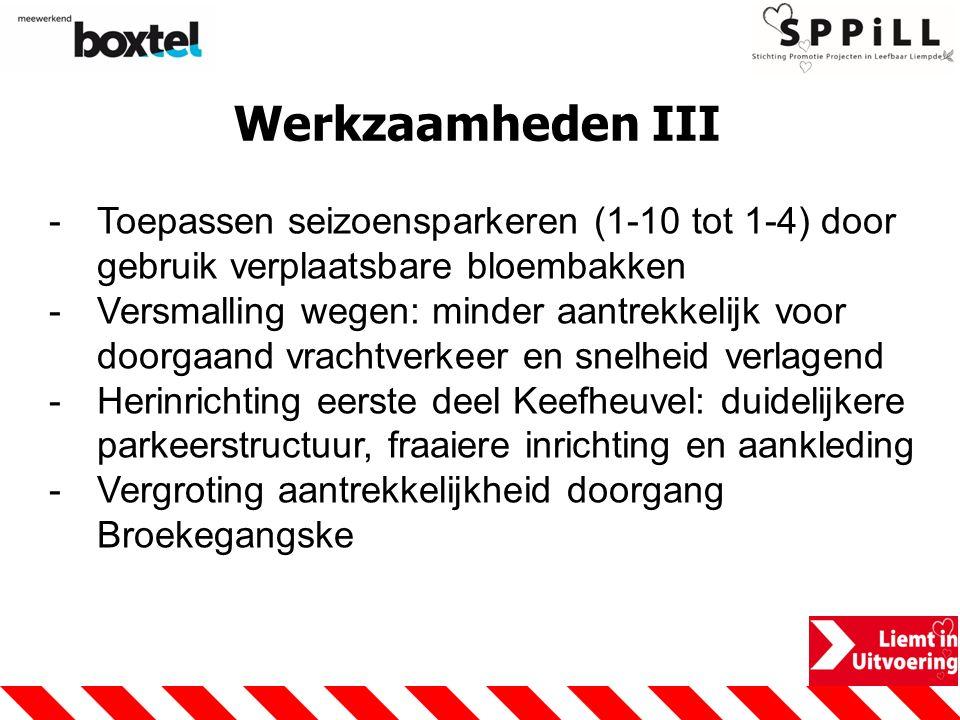 Werkzaamheden III -Toepassen seizoensparkeren (1-10 tot 1-4) door gebruik verplaatsbare bloembakken -Versmalling wegen: minder aantrekkelijk voor door