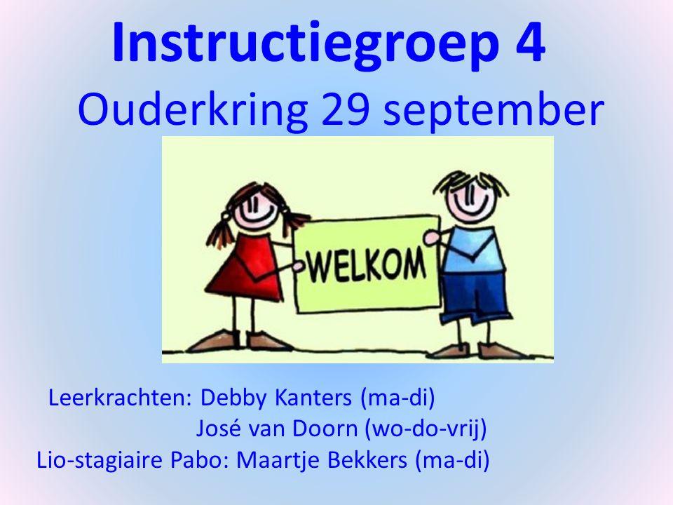Instructiegroep 4 Ouderkring 29 september 2014 Leerkrachten: Debby Kanters (ma-di) José van Doorn (wo-do-vrij) Lio-stagiaire Pabo: Maartje Bekkers (ma-di)