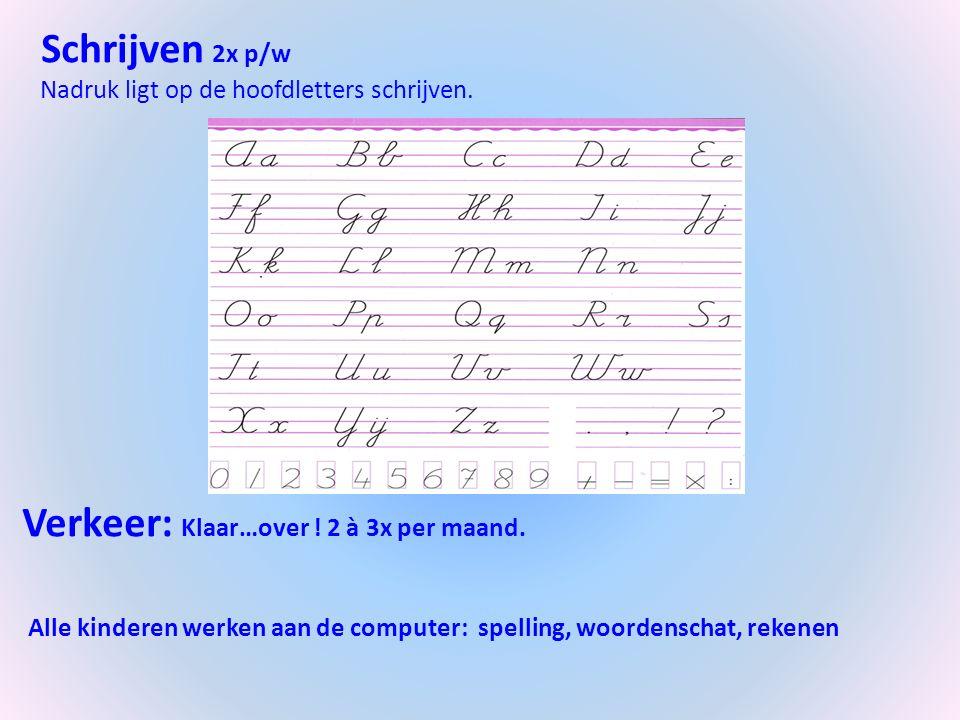 Schrijven 2x p/w Nadruk ligt op de hoofdletters schrijven.