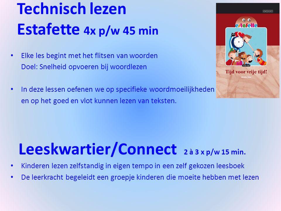 Technisch lezen Estafette 4x p/w 45 min Elke les begint met het flitsen van woorden Doel: Snelheid opvoeren bij woordlezen In deze lessen oefenen we op specifieke woordmoeilijkheden en op het goed en vlot kunnen lezen van teksten.