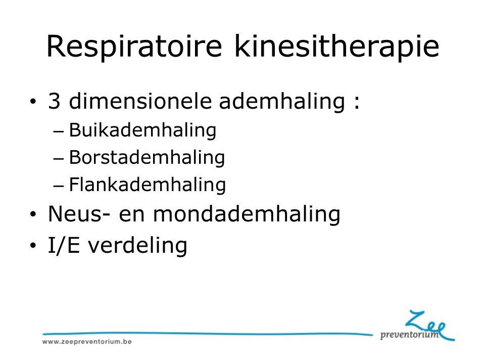 Respiratoire kinesitherapie 3 dimensionele ademhaling : – Buikademhaling – Borstademhaling – Flankademhaling Neus- en mondademhaling I/E verdeling