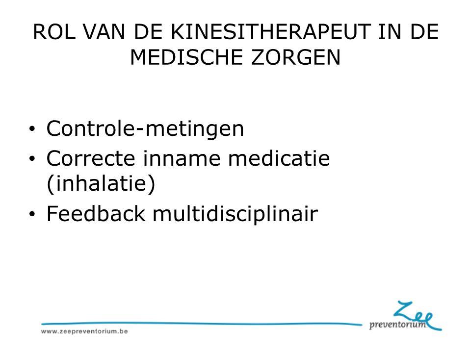 ROL VAN DE KINESITHERAPEUT IN DE MEDISCHE ZORGEN Controle-metingen Correcte inname medicatie (inhalatie) Feedback multidisciplinair
