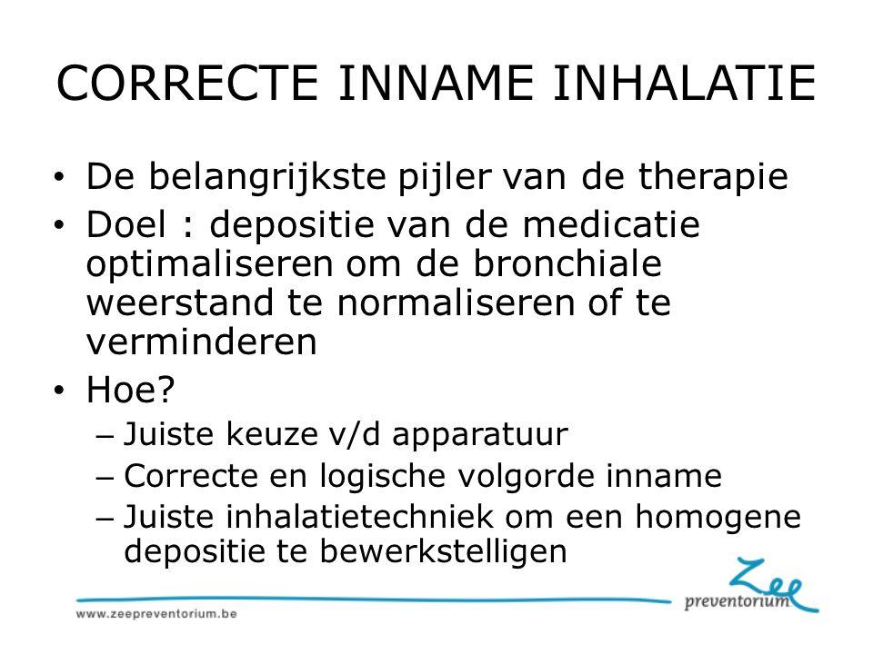 CORRECTE INNAME INHALATIE De belangrijkste pijler van de therapie Doel : depositie van de medicatie optimaliseren om de bronchiale weerstand te normaliseren of te verminderen Hoe.