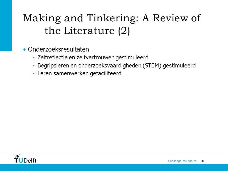 10 Challenge the future Making and Tinkering: A Review of the Literature (2) Onderzoeksresultaten Zelfreflectie en zelfvertrouwen gestimuleerd Begripsleren en onderzoeksvaardigheden (STEM) gestimuleerd Leren samenwerken gefaciliteerd