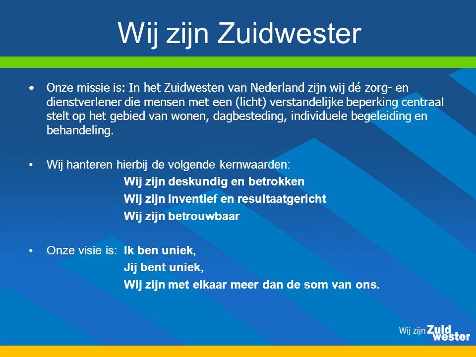 Wij zijn Zuidwester Onze missie is: In het Zuidwesten van Nederland zijn wij dé zorg- en dienstverlener die mensen met een (licht) verstandelijke beperking centraal stelt op het gebied van wonen, dagbesteding, individuele begeleiding en behandeling.