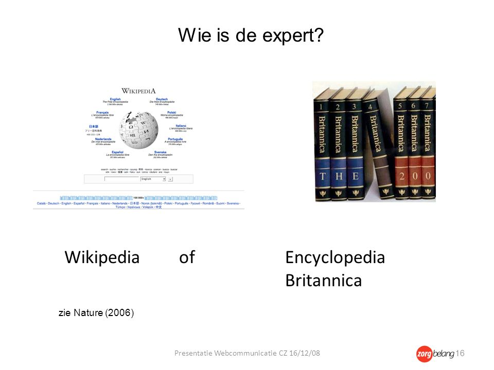 Wikipedia of Encyclopedia Britannica Wie is de expert.