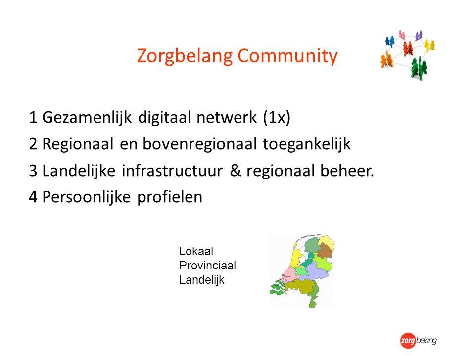 Zorgbelang Community 1 Gezamenlijk digitaal netwerk (1x) 2 Regionaal en bovenregionaal toegankelijk 3 Landelijke infrastructuur & regionaal beheer. 4
