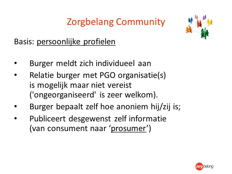 Zorgbelang Community Basis: persoonlijke profielen Burger meldt zich individueel aan Relatie burger met PGO organisatie(s) is mogelijk maar niet vereist ( ongeorganiseerd is zeer welkom).