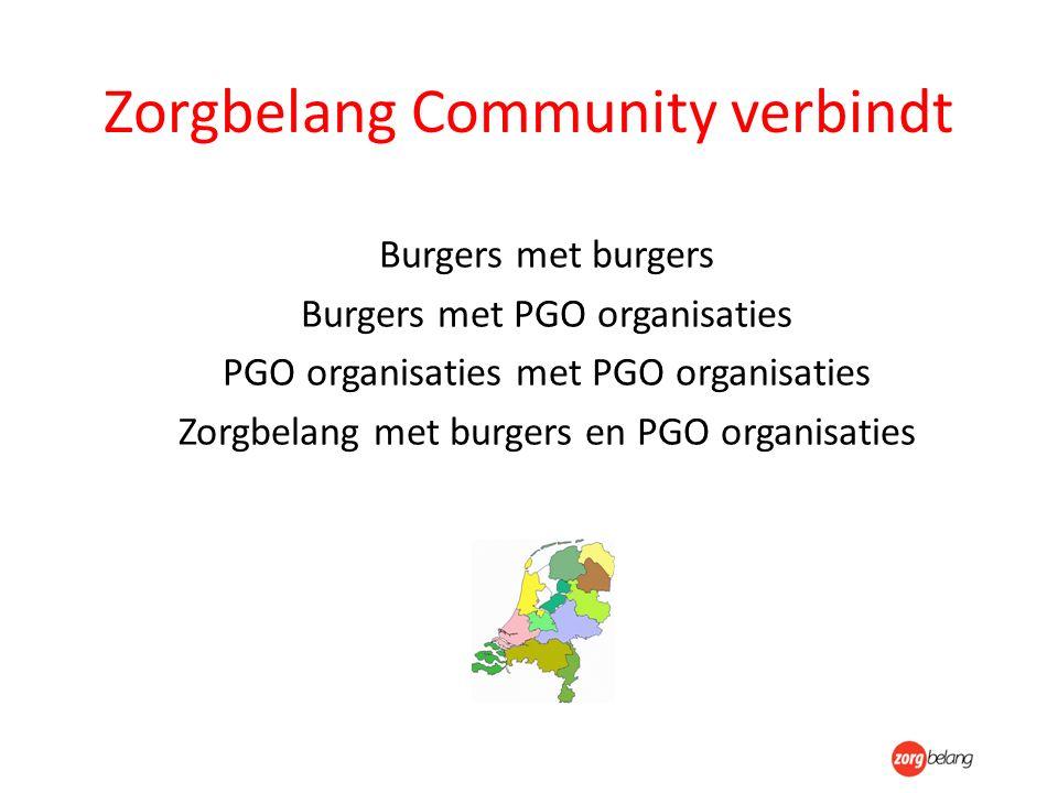Zorgbelang Community verbindt Burgers met burgers Burgers met PGO organisaties PGO organisaties met PGO organisaties Zorgbelang met burgers en PGO org