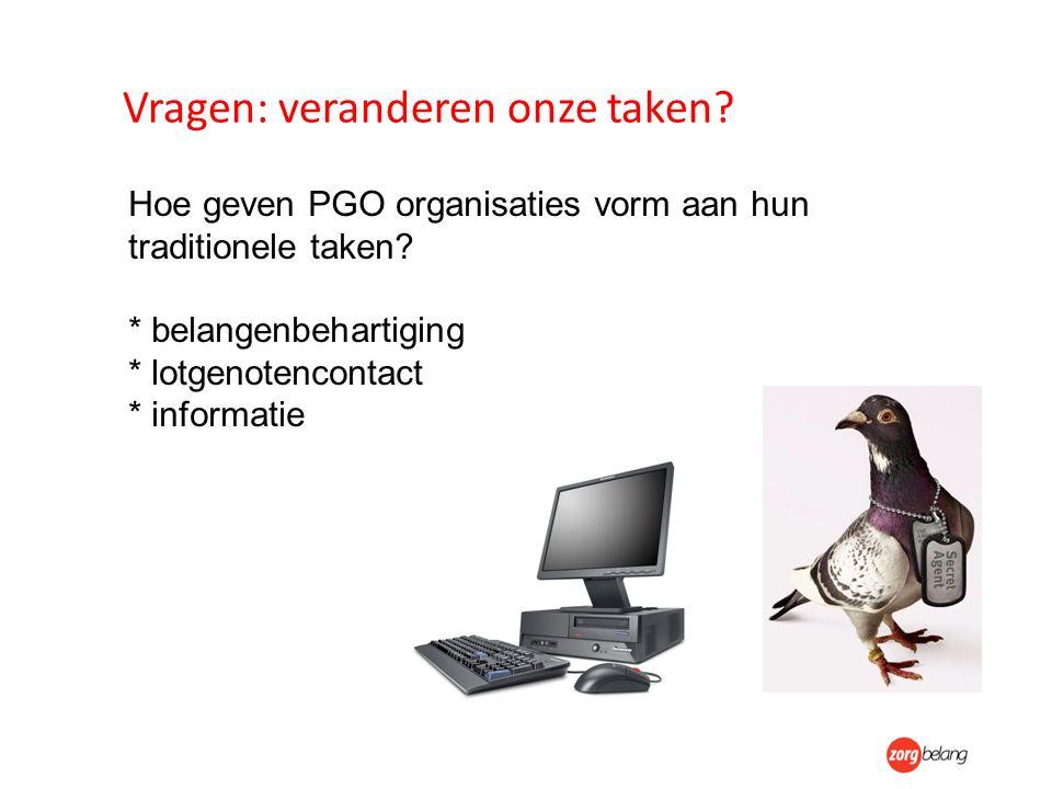 Vragen: veranderen onze taken. Hoe geven PGO organisaties vorm aan hun traditionele taken.