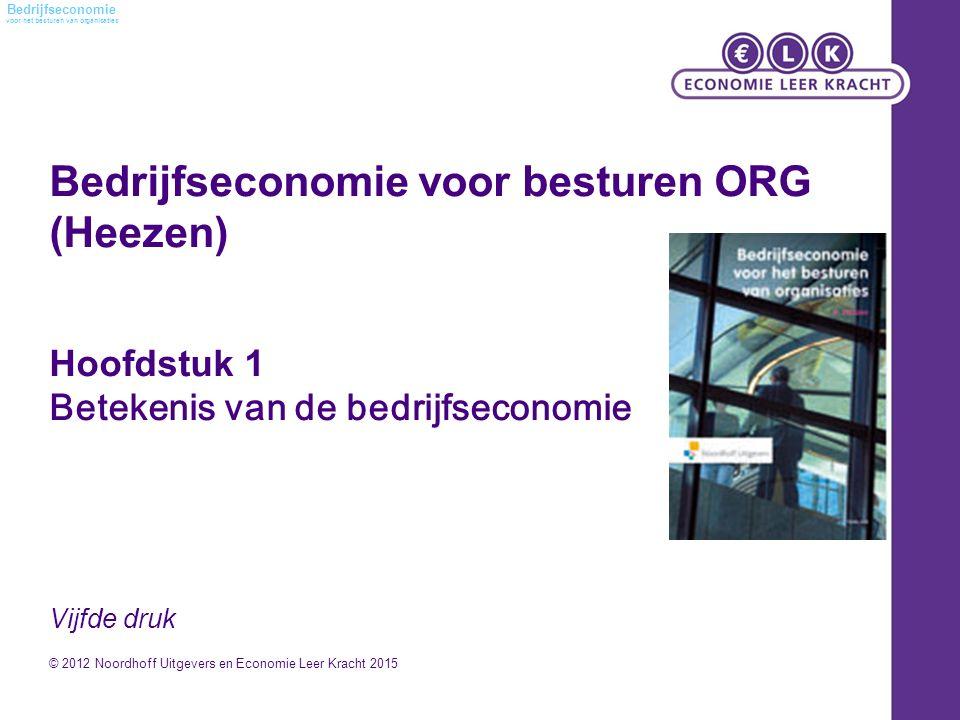 voor het besturen van organisaties Bedrijfseconomie Bedrijfseconomie voor besturen ORG (Heezen) Hoofdstuk 1 Betekenis van de bedrijfseconomie Vijfde d